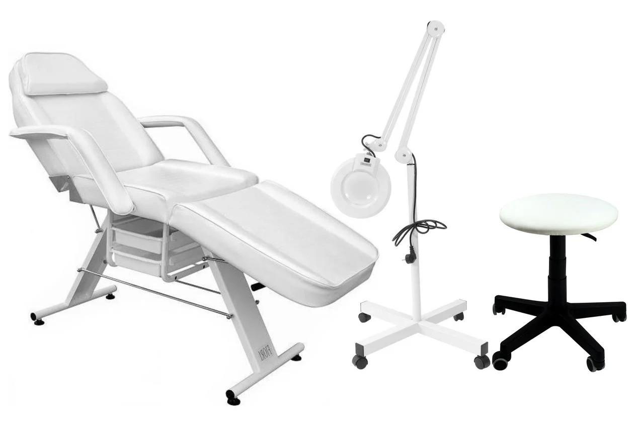 Кушетка массажно-косметологическая + лампа + табурет (масажний косметологічний стіл + стілець + лампа)