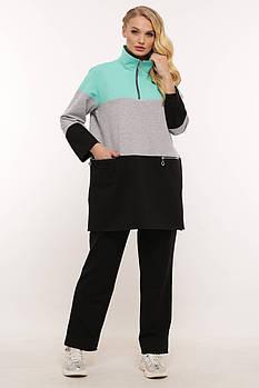 / Размер 56,58,60 / Женский костюм в спортивном стиле Блэнд бирюзовый