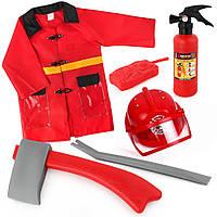 Детский костюм пожарника 9911А с огнетушителем, шлемом и защитным костюмом