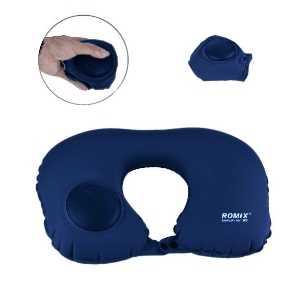 Дорожная надувная подушка для шеи ROMIX Темно-синяя RH34DBL, КОД: 109883