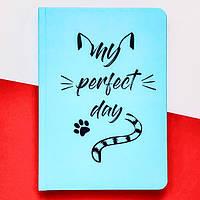 Блокнот с котом Хвост и Усы Diary My perfect day недатированный русский язык Мятный