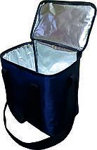 Термосумка 37х25х37 (34,2 л) с фольгой тёмно синяя, фото 2