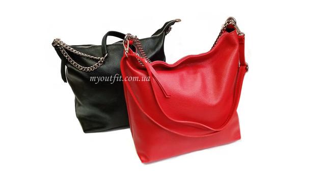 Женские кожаные объёмные сумки