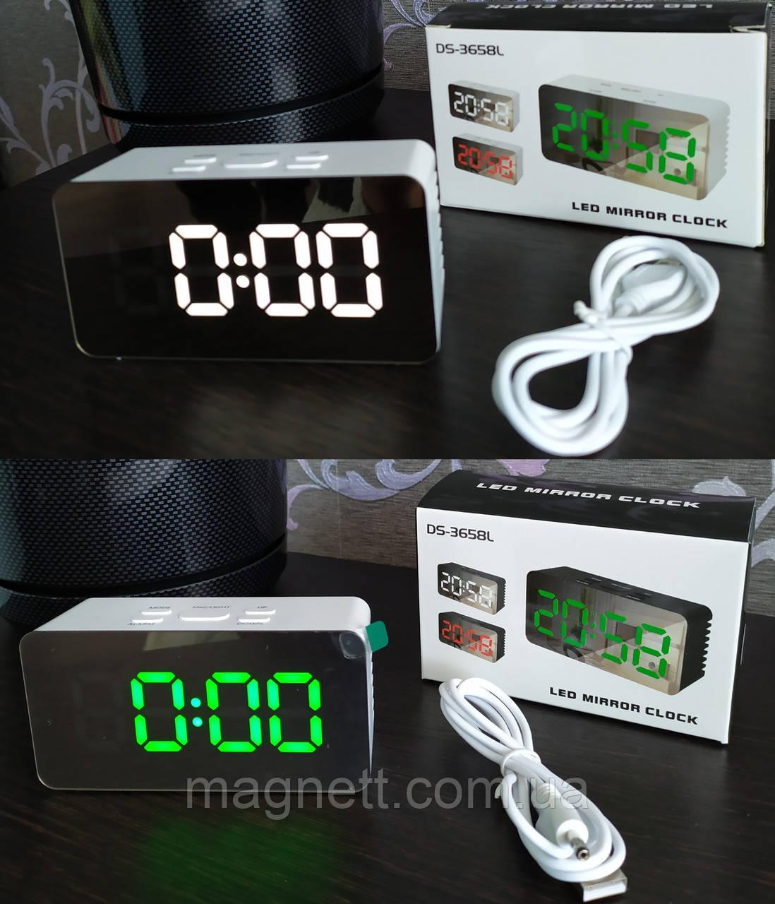 Электронные настольные зеркальные LED часы DS-3658L зеленая,белая подсветка