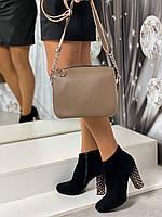 Маленькая женская сумочка через плечо клатч кросс-боди сумка на цепочке капучино экокожа, фото 1