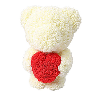 Мягкая игрушка Мишка из роз Bear Flowers White 45 см + подарочная коробка hubrOOQ43791, КОД: 1268859
