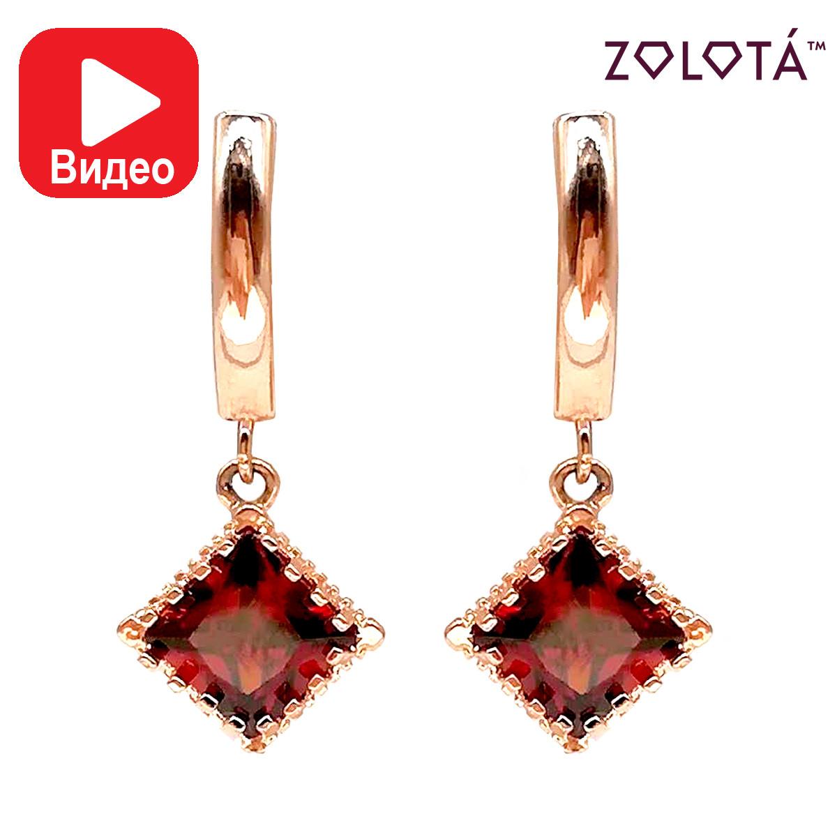 Сережки Zolota з темно-червоними фіанітами (куб. цирконієм), з медичного золота, в позолоті, ЗЛ00445 (1)