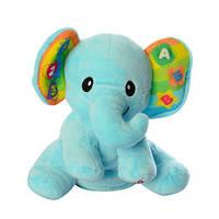 Тварина 0695-07 слон (плюш), навч., рухає головою, муз. (рос), світло, бат., кор., 25-30-15 см., фото 1