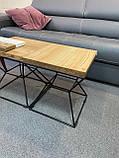 Кофейный столик «CUBE-S» со столешницей из дерева и ножками из металла, фото 2