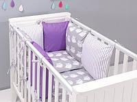 """Комплект постельных принадлежностей в кроватку (9 предметов) """"Харпер"""" (белый/серый/фиолетовый), фото 1"""