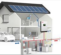3кВт автономная солнечная электростанция инвертор AXIOMA с ШИМ-контроллером 50А и АКБ 24В на 2,4 кВт резерва