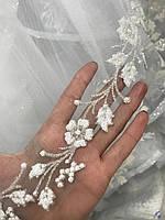 Фата свадебная для невесты с люрексом, блестящая