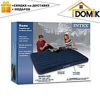 Пляжный надувной двуспальный матрас - плот велюровый синий + 2 надувные подушки и насос Intex 64765