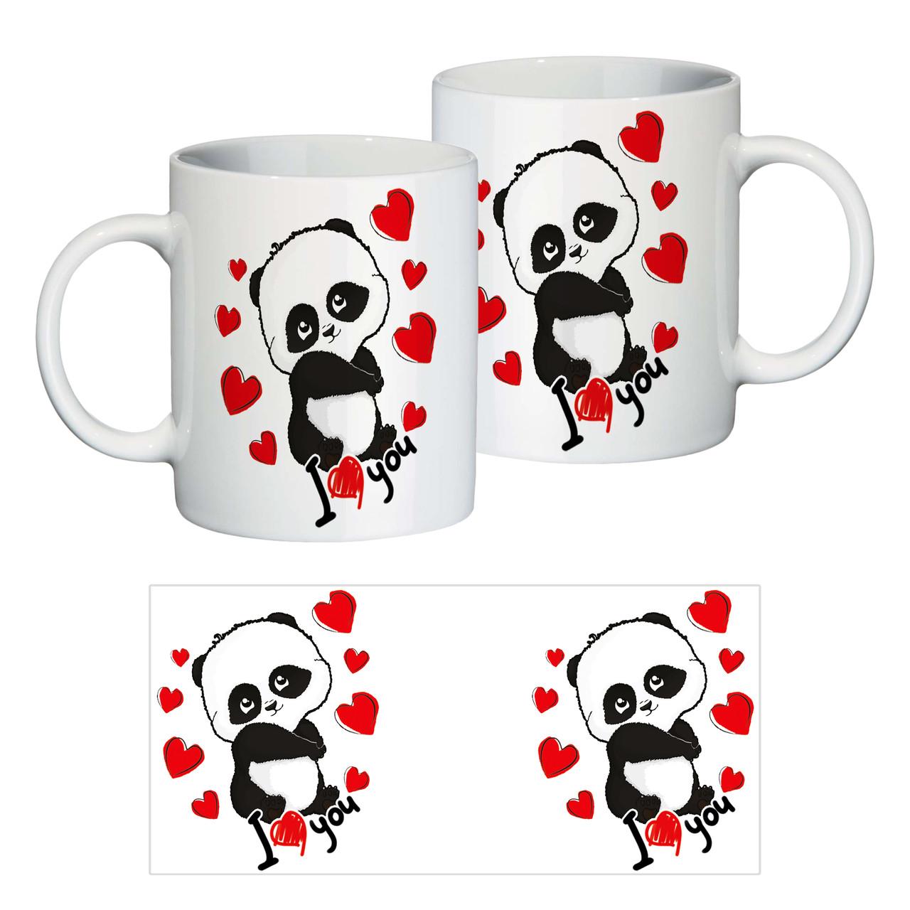 """Керамічна чашка в подарунок до 8 Березня """"Панда"""""""