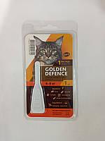 ЗОЛОТАЯ ЗАЩИТА для кошек 4-8 кг GOLDEN DEFENCE капли от блох и клещей, 1 пипетка