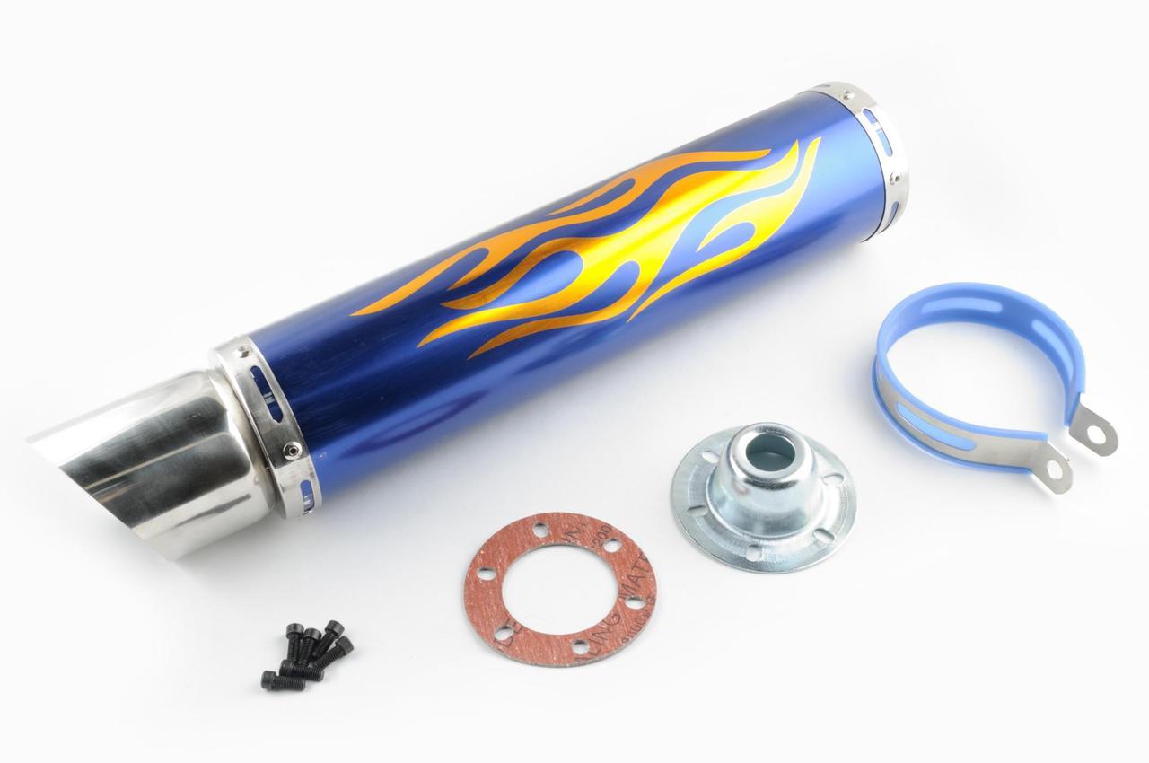 Глушник Мото Тюнінг Прямоток 420*100мм, креп. Ø78мм (нержавійка, полум'я, синій, прямоток, mod:1)