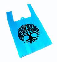 Эко сумка из спанбонда с принтом Голубая