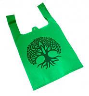 Эко сумка из спанбонда с принтом Зелёная