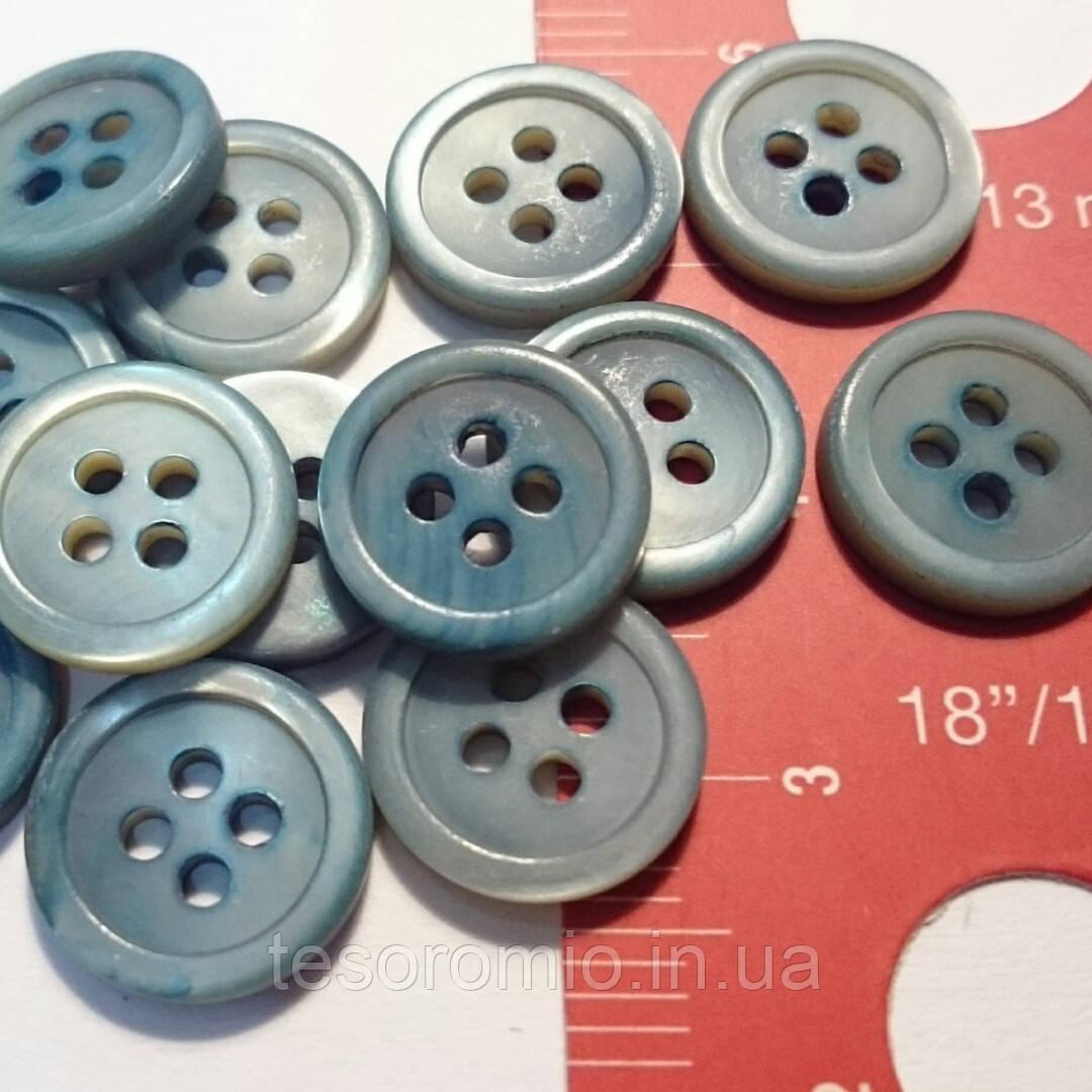 Пуговица рубашечная перламутровая грязно-бирюзовая, матовая, 11 мм диаметр