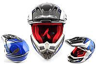 Мотошлем, Мотоциклетный шлем  Кроссовый - Эндуро - АTV (mod:435) (Размер:XL, разноцветный матовый) X-DRIVE