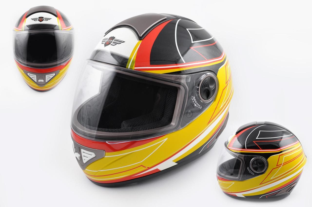 Мотошлем, Мотоциклетный шлем Интеграл (full-face) (mod:550) (premium class) (Размер:XL, черно-желтый) KOJI