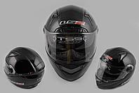 Мотошлем, Мотоциклетный шлем Интеграл (full-face) (mod:385/396) (Размер:XL, черный, солнцезащитные очки) LS-2