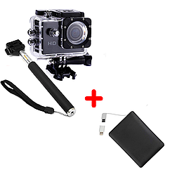 Экшн-камера 2Life А7 Sports с моноподом Full HD 1081 Black + УМБ 2Life Power Bank 2500 mAh Black, КОД: 1286646