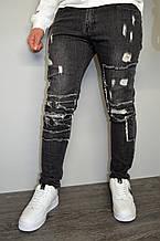 Джинсы мужские черные, зауженные, с потертостями(размеры XL,XXL)