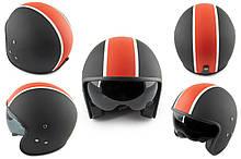 Мотошлем, Мотоциклетный шлем  Открытый (jet) (mod:062) (Размер:L, черно-красный матовый, солнцезащитные очки)