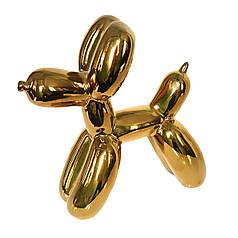 Фарфоровая статуэтка Собака из ШДМ золотой металлик