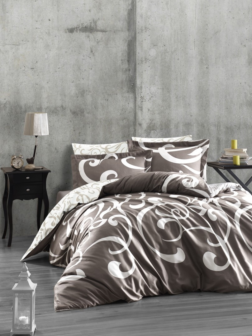 Комплект постельного белья First Choice Сатин Люкс Ruya vizon