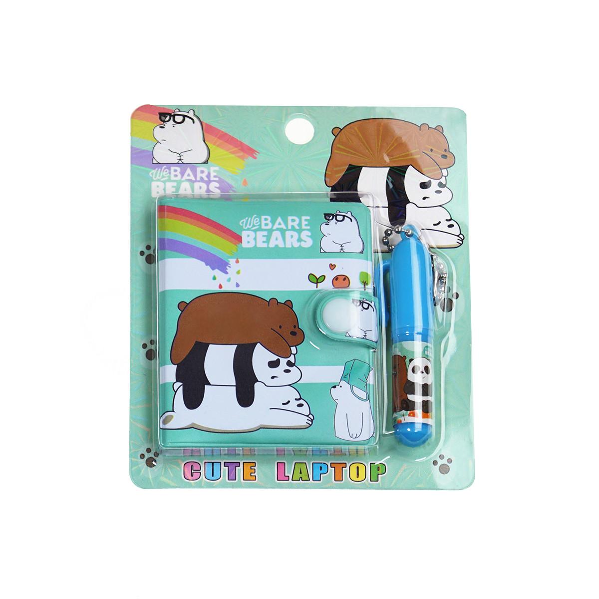 Блокнот детский с ручкой (три медведя зеленый)
