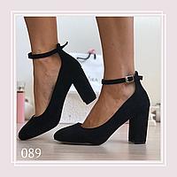 Женские туфли лодочки на широком каблуке черная замша