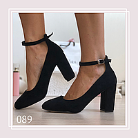 Женские туфли лодочки на широком каблуке  черная замша, фото 1