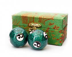 Массажные шары Баодинга пара Эмаль Инь Ян зелёные