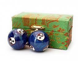Массажные шары Баодинга пара Эмаль Инь Ян синие