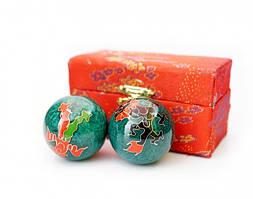 Массажные шары Баодинга пара Эмаль Дракон Феникс зелёные