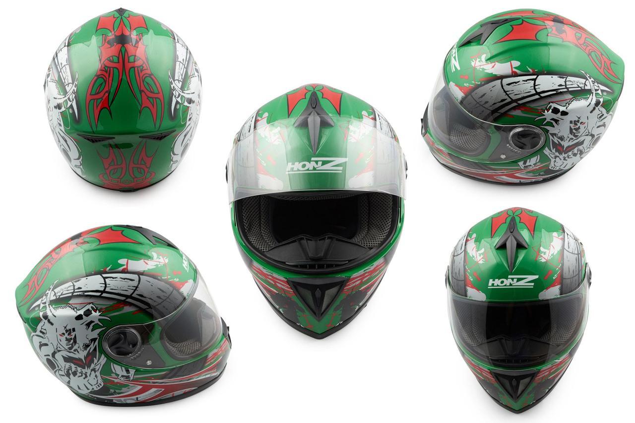 Мотошлем, Мотоциклетный шлем Интеграл (full-face) (mod:OP01) (Размер:XL, зеленый) HONZ