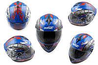 Мотошлем, Мотоциклетный шлем Интеграл (full-face) (mod:OP01) (Размер:XL, синий) HONZ