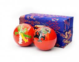 Массажные шары Баодинга пара Эмаль Дракон Феникс красные