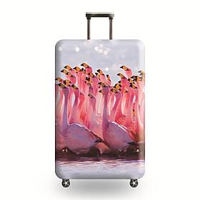 Защитный Чехол для чемодана Розовые Фламинго + другие модели
