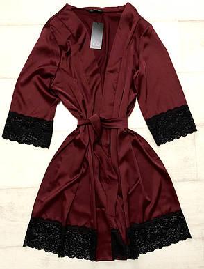 Бордовый шелковый халат с кружевом, фото 2