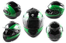 Мотошлем, Мотоциклетный шлем  трансформер (mod:FL258) (Размер:XL, черно-зеленый) HELMO