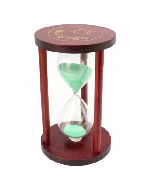 """Песочные часы """"Круг"""" стекло + тёмное дерево 15 минут Салатовый песок"""
