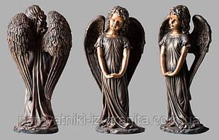 Ангелочек с искусственного мрамора - 49 см Бронзовый