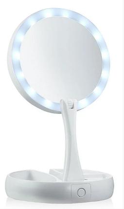 Зеркало круглое с LED подсветкой для макияжа обычное +10-ти кратное увеличение My Fold Away Mirror, цвет белый, фото 2