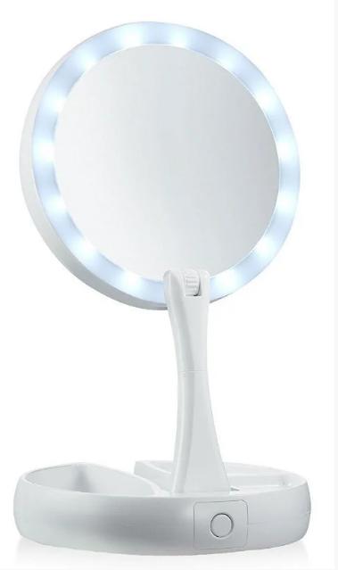 Зеркало круглое с LED подсветкой для макияжа обычное +10-ти кратное увеличение My Fold Away Mirror, цвет белый