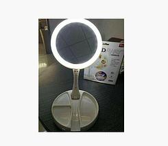 Зеркало круглое с LED подсветкой для макияжа обычное +10-ти кратное увеличение My Fold Away Mirror, цвет белый, фото 3