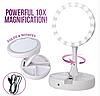 Зеркало круглое с LED подсветкой для макияжа обычное +10-ти кратное увеличение My Fold Away Mirror, цвет белый, фото 4