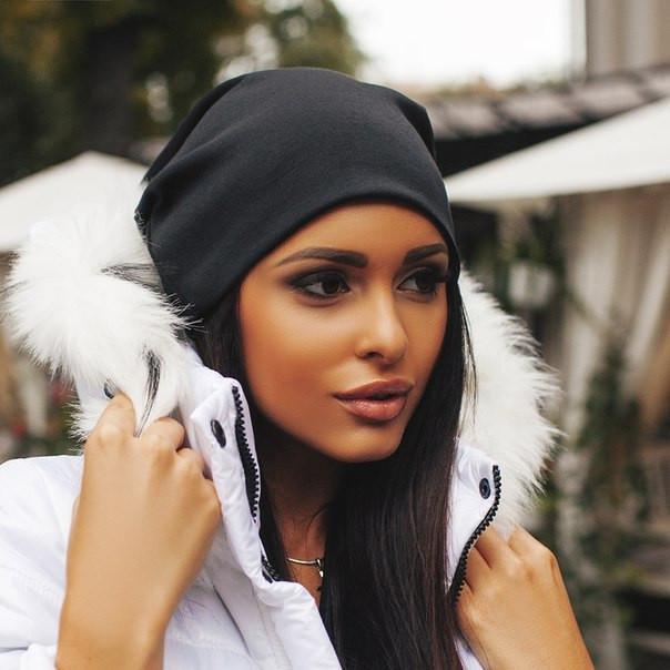 Женская трикотажная шапка чулок, цвет черный